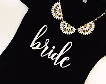 Bride V-neck Shirt. Bride Gift. Bridal Shower Gift. Bride Shirt. Bride T-shirt. V-neck Tshirt. Black t-shirt. Bride to be Gift. Bride tshirt
