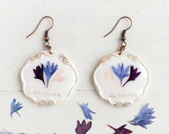 Real Flower Cornflower Earrings,  Real Flower Jewelry, Preserved Flower Earrings, Romantic Earrings, Real Flower Earrings, Nature Jewelry