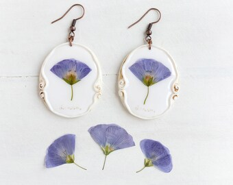 Real Flower Linum Earrings,  Real Flower Jewelry, Preserved Flower Earrings, Romantic Earrings, Real Flower Earrings, Nature Jewelry