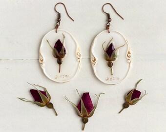 Real Flower Wild Rose Earrings,  Real Flower Jewelry, Preserved Flower Earrings, Romantic Earrings, Real Flower Earrings, Nature Jewelry