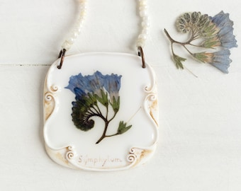Real Symphitum Flower Necklace, Real Flower Jewelry, Romantic Pendant, Botanical Jewelry, Preserved Flower, Nature Jewelry, Nature Pendant