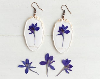 Real Flower Consolida Earrings,  Real Flower Jewelry, Preserved Flower Earrings, Romantic Earrings, Real Flower Earrings, Nature Jewelry