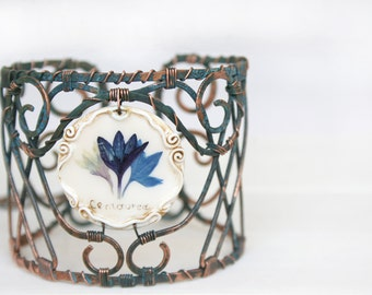 Artisan Cuffs, Handcuffs, Hand Forged Copper Cuff Bracelets, Real Flower Bracelets, Adjustable Bracelet, Copper Cuffs