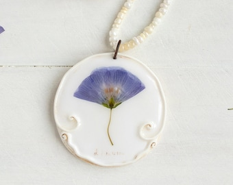 Real Linum Flower Necklace, Real Flower Jewelry, Romantic Pendant, Botanical Jewelry, Preserved Flower, Nature Jewelry, Nature