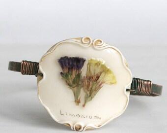 Real Flower Bracelet, Limonium Bracelet, Copper Bracelet, Vintage Bracelet, Hand Forged Bracelet, Rough Bracelet