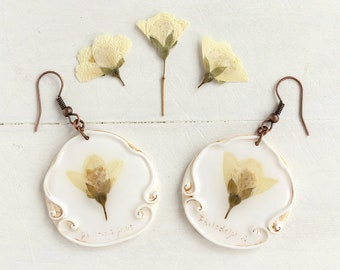 Real Flower Philadelphus Earrings,  Real Flower Jewelry, Preserved Flower Earrings, Romantic Earrings, Real Flower Earrings, Nature Jewelry