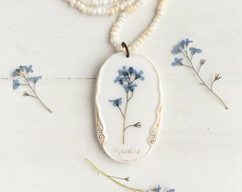 Real Forget-me-not Flower Necklace, Real Flower Jewelry, Romantic Pendant, Botanical Jewelry, Preserved Flower, Nature Jewelry, Nature