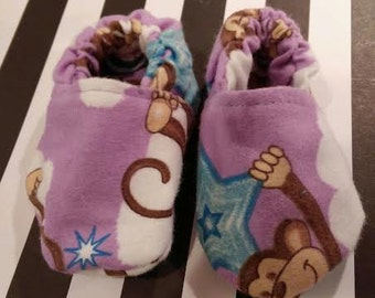 Purple Monkey Baby Booties/Shoes/Slippers