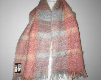 Vintage 60s Cotton Candy Plaid Mohair Scarf