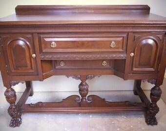 56e0117e5 Jacobean Revival Style Antique Sideboard