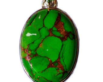 Eco- Friendly Green Turquoise Silver pendant
