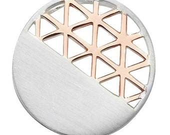 Two Tone Geometric Silver Pendant with Rose Gold
