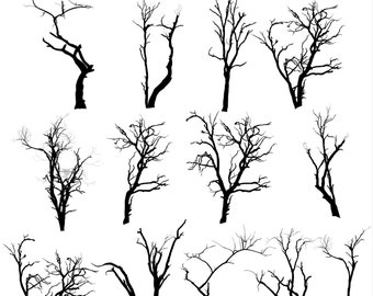 tree clipart tree silhouettes clipart halloween tree silhouettes nature clipart forest clipart instant download png files