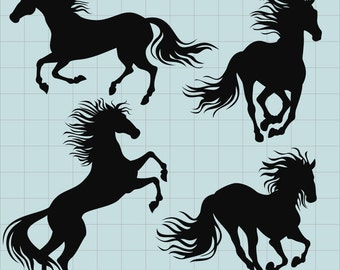Horse Clipart Silhouette Clip Art Animal Silhouettes Digital Images PNG Files Instant Download