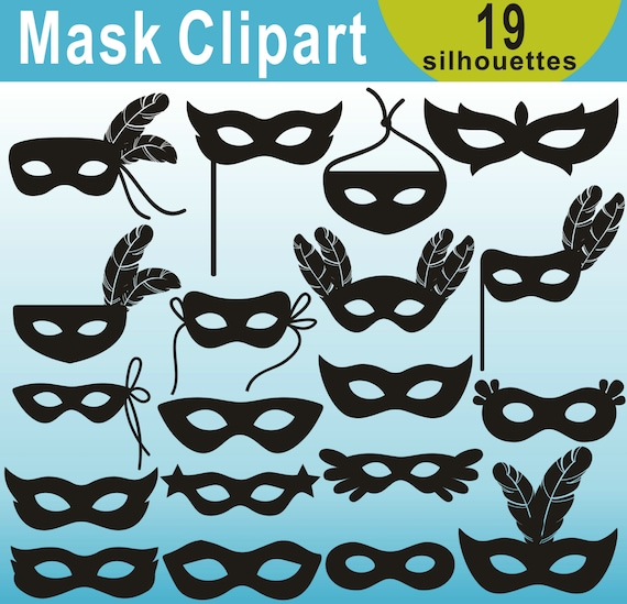 Mask Silhouettes Clipart Masquerade Mask Silhouettes Clipart Etsy