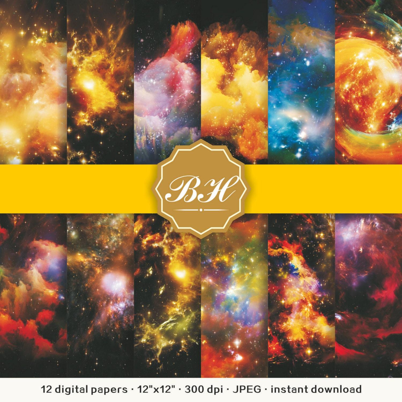 Nebula Galaxy Digital Paper Space Digital Paper Universe | Etsy