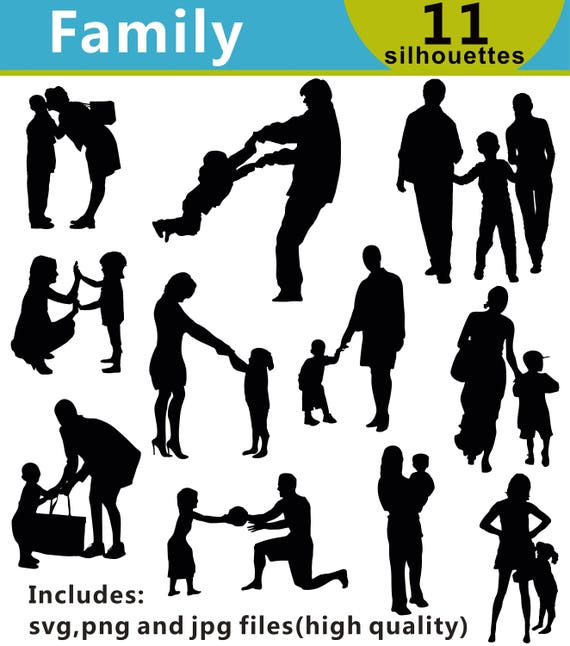 La Famille Silhouettes Clipart Clipart Famille Famille Svg Etsy