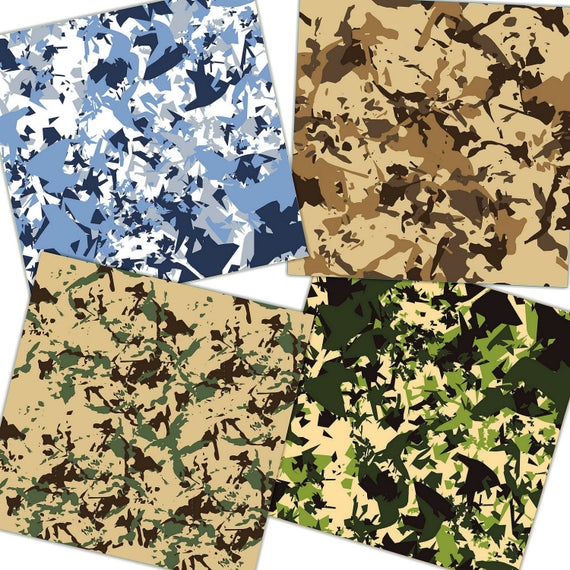 Camouflage Digital Paper Military Scrapbook Paper Military Etsy