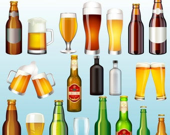 Beer Clipart, Drinks Clipart, Beer Bottle Clip Art, Alcohol  Clipart, Digital Clipart, Party, Birthday, Man, Dad, Father