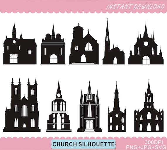 Kirche Silhouetten Clipart Burg Silhouetten Druckbare Kirche Etsy