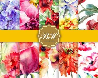 Flower Watercolor Digital Paper, Watercolor Digital Paper, Background Watercolor Flower, Flower Paper, Floral Pattern, Pink Green Violet