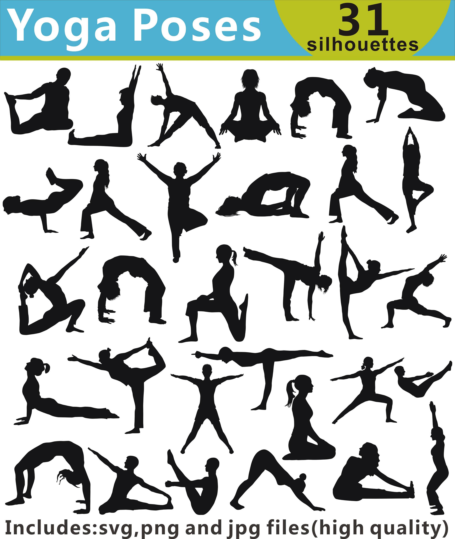 Yoga Clipart Yoga Poses Silhouette Yoga SVG Yoga | Etsy
