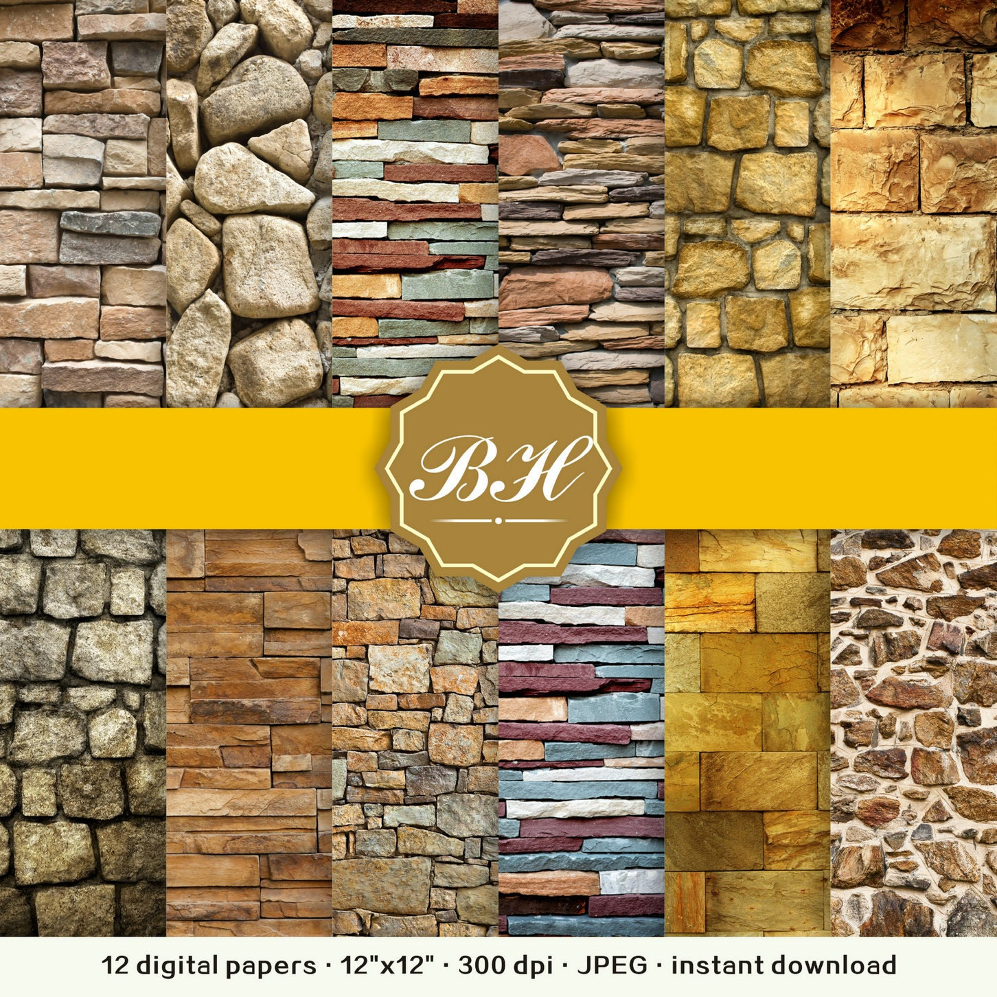 Wall Digital Paper Stone Wall Digital Paper Rustic Stone | Etsy