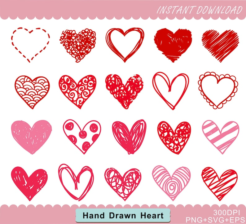 Painted Heart Clipart Heart Clipart Love Clip Art Etsy