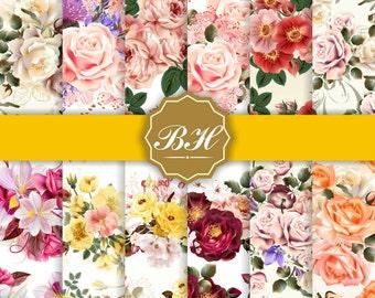 Bright Flower Digital Paper, Rose Digital Paper, Flower Backgrounds, Flower Paper, Floral Pattern, Commercial Use, Printable Paper