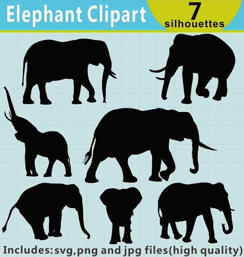 Elephant Silhouette Clipart, Elephant Clipart, Elephant SVG Files, Elephant  Decal, Elephant Clip Art, Animal Clipart, Instant Download