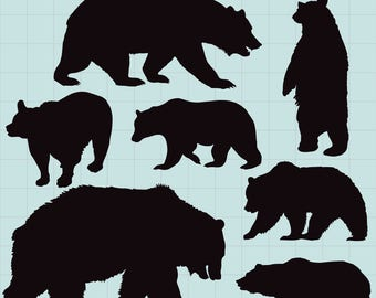 Bear Silhouettes Clipart, Bear Silhouettes, Bear Clipart, Bear SVG File, Forest Animal Clip Art, Nature Silhouettes, Instant Download