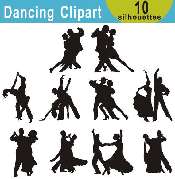 Ballroom Dance Silhouettes Clipart Dancers Clipart Latin Etsy
