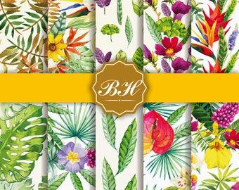 Flower Watercolor Digital Paper, Watercolor Digital Paper, Watercolor Flower Background , Flower Paper, Floral Pattern, INSTANT DOWNLOAD