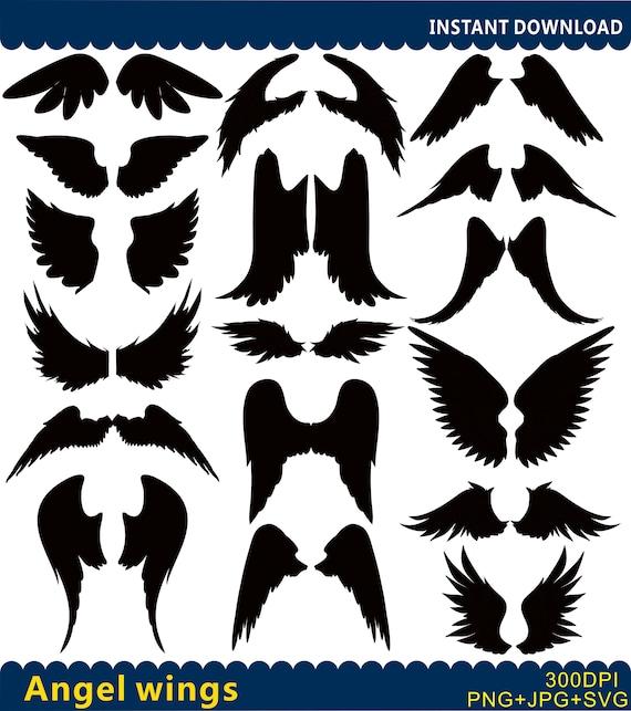 Engel Flügel Svg Angel Wings Clipart Angel Silhouetten Etsy