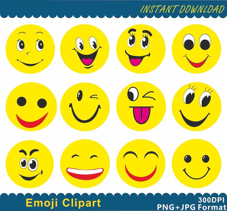 Emoji Clipart Emoji Png Emoticons Collage Clipart Smiley Etsy