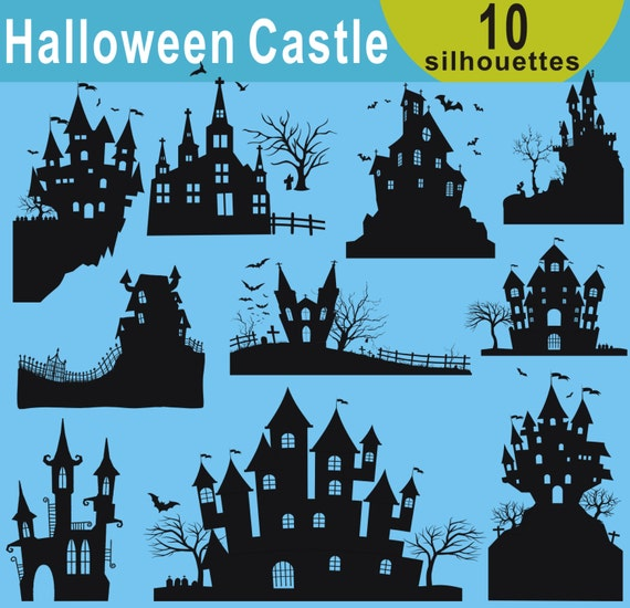 haunted house silhouettes coloring pages - photo#32