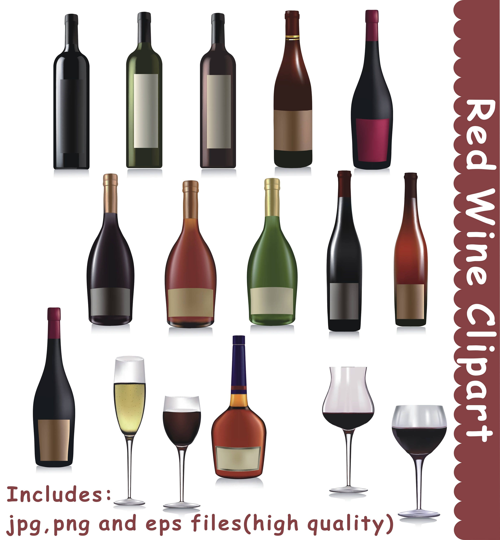 Rot Wein Clipart Wein ClipArt Getränke Clipart Alkohol   Etsy