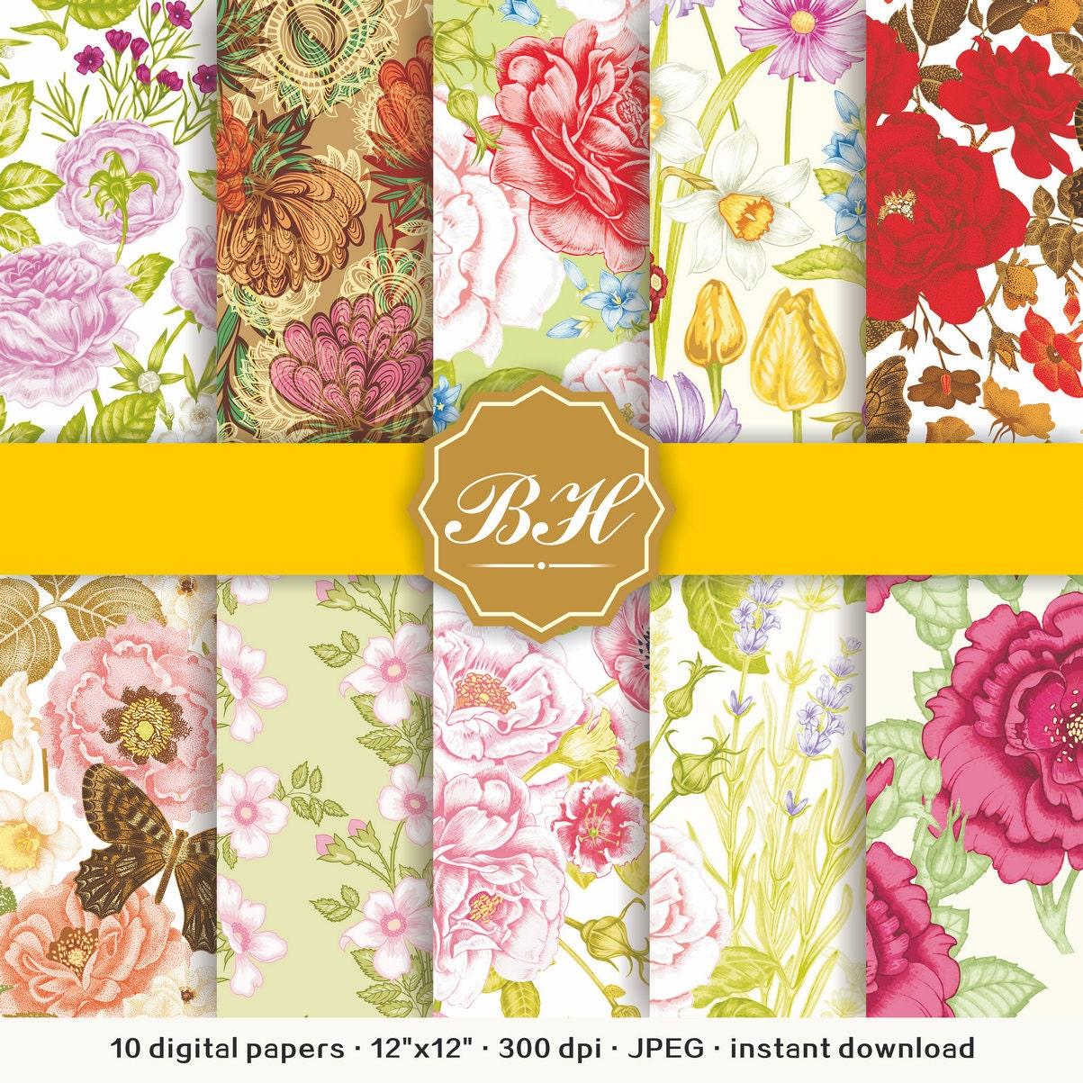 Floral Digital Paper Floral Backgrounds Flower Scrapbook Etsy