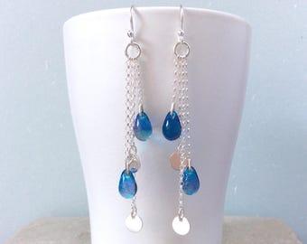 Sterling silver earrings Long earrings Dangle earrings Boho earrings Chain earrings Blue earrings Handmade birthday gift for friend