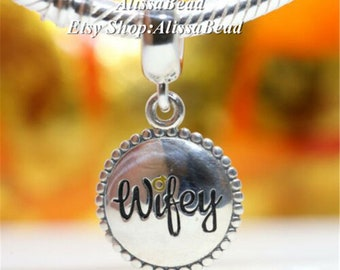 Wifey custom Engraved Pendant Charm with Necklace Keychain Jewelry or Bags
