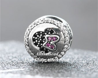 Authentic Sterling Silver Dis Mickey /& Minnie Sparkling Portrait with Cz Charm Fits All European DIY Bracelets Necklaces