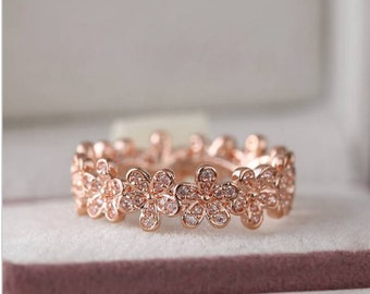 699a436e2 2016 Mother's Day Release Sterling Silver Rose Gold Dazzling Daisy Meadow  Ring Clear CZ Rings For Women Jewelry Finger Ring