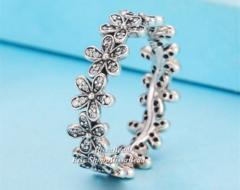 c76d259c9 2015 Spring 925 Sterling Silver Dazzling Daisy Meadow Ring Clear CZ Rings  For Women Jewelry Finger Ring