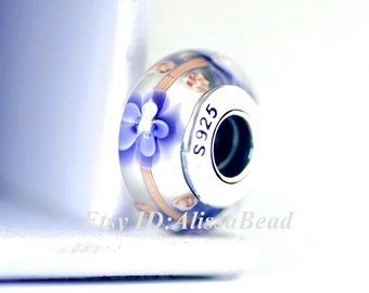 925 Sterling Silver Screw Core Purple Flower Murano Glass Charms Beads Fits All European Style Bracelets Necklaces ZD219