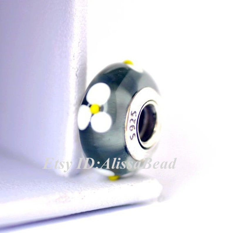 925 Sterling Silver Handmade Black Clover Flower Murano Glass Charms Beads Fits All European DIY Charms Bracelets Necklaces ZD117
