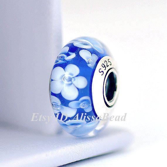 925 Sterling Silver Handmade Glass Lampwork Black /& White Flower Murano Glass Charm Beads Fits All European DIY Bracelets Necklaces