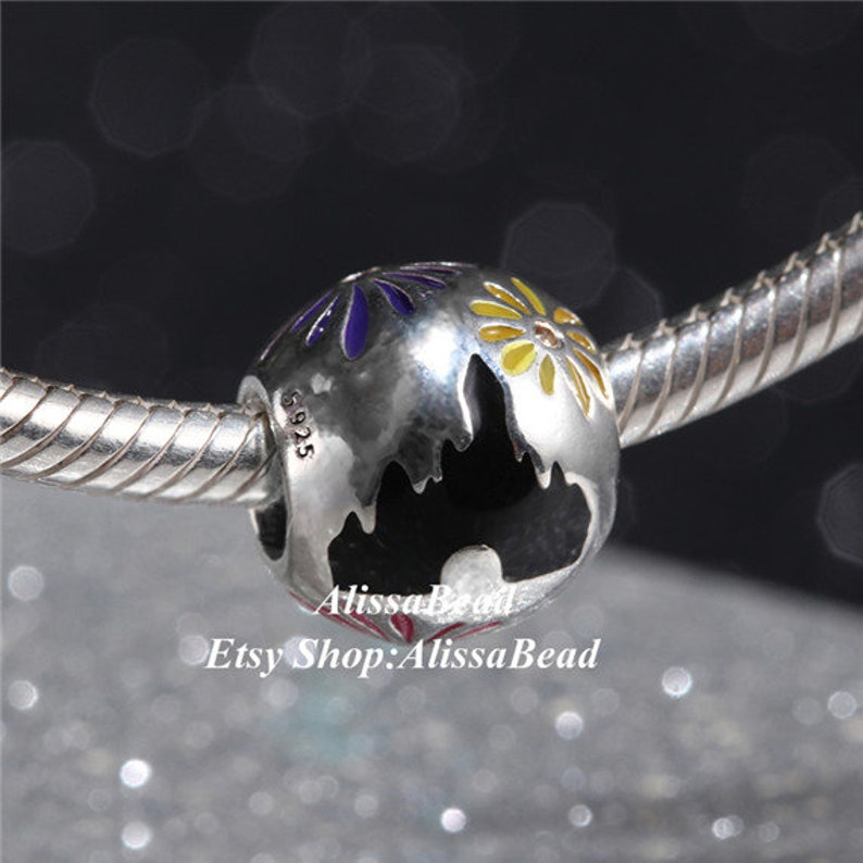 2018 NEW 925 Sterling Silver Dis Castle Fireworks With Enamel Charm Beads Fits All European Style Women Bracelets /& Necklaces