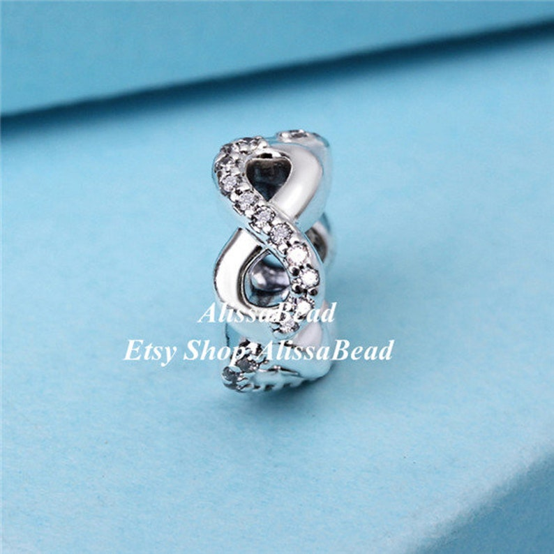 2017 Mothers Day 925 Sterling Silver Infinite Love with Clear Cz Spacer Charms Fit European Jewelry Bracelets Necklaces