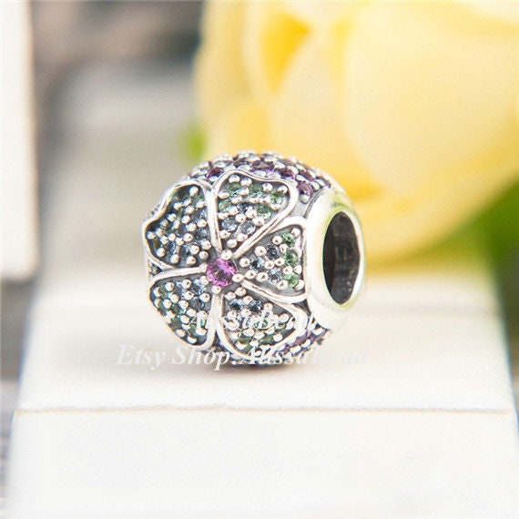 2018 Spring Release Sterling Silver Glorious Bloom Charm With Colorful CZ Charm Bead Fits All European DIY Bracelets Necklaces