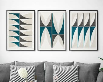 Set of 3 Prints – Abstract Geometric Art Prints – Modern Wall Art – Fine Art Prints – Living Room Prints – Large Abstract Wall Art